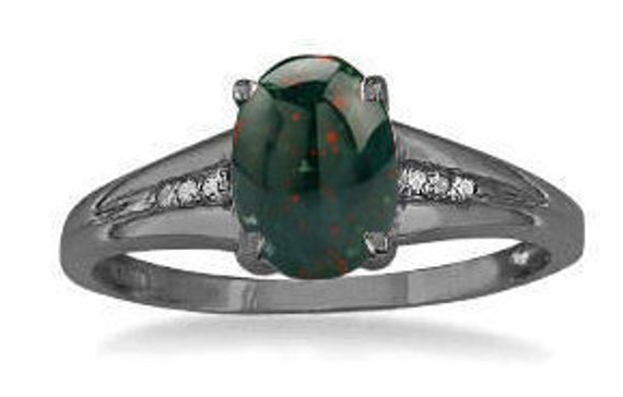 Bloodstone Ring Oval Cabochon Bloodstone Diamond Ring In White Rose Yellow Black Gold Or Silver, March Birthstone Ring, Bloodstone Jewelry
