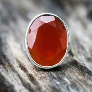 Carnelian Ring Size 7 – Carnelian Ring Size 7 – Faceted Carnelian Jewelry – Beautiful Carnelian Sterling Silver Ring – Orange Chalcedony Rin | Natural genuine Carnelian rings, simple unique handcrafted gemstone rings. #rings #jewelry #shopping #gift #handmade #fashion #style #affiliate #ad