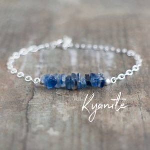 Shop Dainty Jewelry! Raw Kyanite Bracelet, Gift For Women, Gift For Friend, Blue Kyanite Throat Chakra Jewelry, Healing Crystal Bracelet, Gemstone Jewelry | Natural genuine Gemstone jewelry. Buy crystal jewelry, handmade handcrafted artisan jewelry for women.  Unique handmade gift ideas. #jewelry #beadedjewelry #beadedjewelry #gift #shopping #handmadejewelry #fashion #style #product #jewelry #affiliate #ad