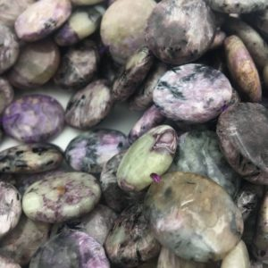 Shop Charoite Beads! Charoite Coin Shaped Size 18x20mm 15.5'' Strand | Natural genuine beads Charoite beads for beading and jewelry making.  #jewelry #beads #beadedjewelry #diyjewelry #jewelrymaking #beadstore #beading #affiliate #ad