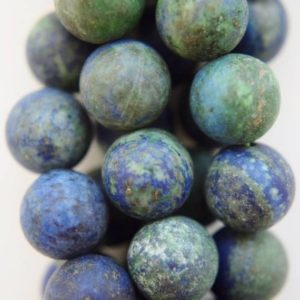 "Shop Chrysocolla Beads! Natural Matte Chrysocolla Beads – Round 10 mm Gemstone Beads – Full Strand 15"", 37 beads, A Quality 