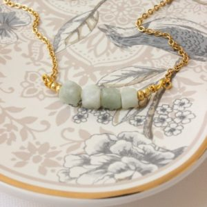 Shop Chrysoprase Necklaces! Dainty Gemstone Bar Necklace On Gold Filled Chain, Light Green Chrysoprase Raw Crystal Necklace, Mint Green Gemstone | Natural genuine Chrysoprase necklaces. Buy crystal jewelry, handmade handcrafted artisan jewelry for women.  Unique handmade gift ideas. #jewelry #beadednecklaces #beadedjewelry #gift #shopping #handmadejewelry #fashion #style #product #necklaces #affiliate #ad