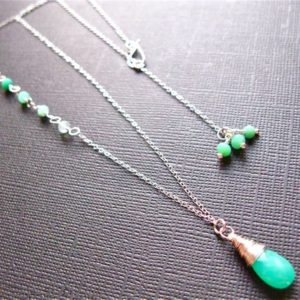 Shop Chrysoprase Necklaces! Chrysoprase Necklace in Sterling Silver, Ombre Gemstone Necklace, Simple Gemstone Necklace, Birthstone Necklace for Her, Natural Gemstone | Natural genuine Chrysoprase necklaces. Buy crystal jewelry, handmade handcrafted artisan jewelry for women.  Unique handmade gift ideas. #jewelry #beadednecklaces #beadedjewelry #gift #shopping #handmadejewelry #fashion #style #product #necklaces #affiliate #ad