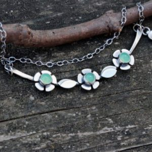 Shop Chrysoprase Jewelry! Chrysoprase necklace / sterling silver flower necklace / gift for her / jewelry sale / gift for mom / silver bar necklace / yoke necklace | Natural genuine Chrysoprase jewelry. Buy crystal jewelry, handmade handcrafted artisan jewelry for women.  Unique handmade gift ideas. #jewelry #beadedjewelry #beadedjewelry #gift #shopping #handmadejewelry #fashion #style #product #jewelry #affiliate #ad