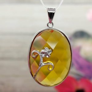 Shop Citrine Bead Shapes! Natural Citrine Pendant Citrine Faceted Oval Gemstone Pendant Silver Plated | Natural genuine other-shape Citrine beads for beading and jewelry making.  #jewelry #beads #beadedjewelry #diyjewelry #jewelrymaking #beadstore #beading #affiliate #ad