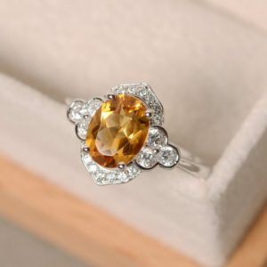 Shop Citrine Rings! Citrine ring, sterling silver, finished with rhodium, yellow crystal | Natural genuine Citrine rings, simple unique handcrafted gemstone rings. #rings #jewelry #shopping #gift #handmade #fashion #style #affiliate #ad