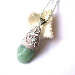 Shop Aventurine Pendants! Crystal necklace, Green Aventurine necklace, Green crystal necklace, Birthstone necklace, Gemstone necklace, Healing necklace, Gift for her | Natural genuine Aventurine pendants. Buy crystal jewelry, handmade handcrafted artisan jewelry for women.  Unique handmade gift ideas. #jewelry #beadedpendants #beadedjewelry #gift #shopping #handmadejewelry #fashion #style #product #pendants #affiliate #ad