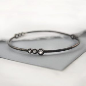 Shop Diamond Bracelets! Black Silver Bangle, Textured Silver Bracelet, Gemstone Bangle, Edgy Jewelry, Oxidised Silver, 925 Bracelet, Rustic Bangle, Diamond Bracelet | Natural genuine Diamond bracelets. Buy crystal jewelry, handmade handcrafted artisan jewelry for women.  Unique handmade gift ideas. #jewelry #beadedbracelets #beadedjewelry #gift #shopping #handmadejewelry #fashion #style #product #bracelets #affiliate #ad