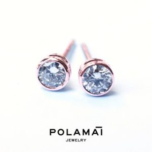 Shop Diamond Earrings! Diamond Earrings 18k Solid Gold 0.40 0.20 ctw . Stud Solitaire Earrings . Round Bezel Set . Rose Gold . Polamai Jewelry | Natural genuine gemstone jewelry in modern, chic, boho, elegant styles. Buy crystal handmade handcrafted artisan art jewelry & accessories. #jewelry #beaded #beadedjewelry #product #gifts #shopping #style #fashion #product