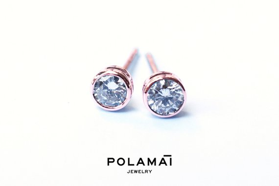 Diamond Earrings 18k Solid Gold 0.40 0.20 Ctw . Stud Solitaire Earrings . Round Bezel Set . Rose Gold . Polamai Jewelry
