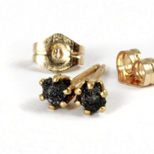 3mm Rough Diamond Stud Earrings – 14K Gold Filled Posts – Black Raw Diamonds – April Birthstone | Natural genuine Diamond earrings. Buy crystal jewelry, handmade handcrafted artisan jewelry for women.  Unique handmade gift ideas. #jewelry #beadedearrings #beadedjewelry #gift #shopping #handmadejewelry #fashion #style #product #earrings #affiliate #ad