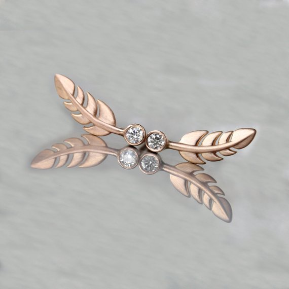 Tiny 14k Rose Gold Diamond Feather Stud Earrings Cute Delicate Bohemian Wings Pink Clear White Bird Beach Summer Light Leaves - Federleicht