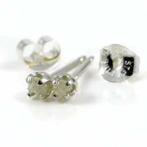White Diamond Ear Studs – 3mm Tiny Post Earrings, Four Prongs – Raw Rough Diamonds on Silver Posts – Natural Conflict Free Diamonds | Natural genuine Gemstone earrings. Buy crystal jewelry, handmade handcrafted artisan jewelry for women.  Unique handmade gift ideas. #jewelry #beadedearrings #beadedjewelry #gift #shopping #handmadejewelry #fashion #style #product #earrings #affiliate #ad