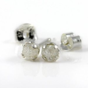 White Rough Diamond Studs – 4mm Post Earrings, Four Prongs – Raw Uncut Unfinished Diamonds on Silver Posts – Natural Conflict Free Diamonds | Natural genuine Gemstone earrings. Buy crystal jewelry, handmade handcrafted artisan jewelry for women.  Unique handmade gift ideas. #jewelry #beadedearrings #beadedjewelry #gift #shopping #handmadejewelry #fashion #style #product #earrings #affiliate #ad