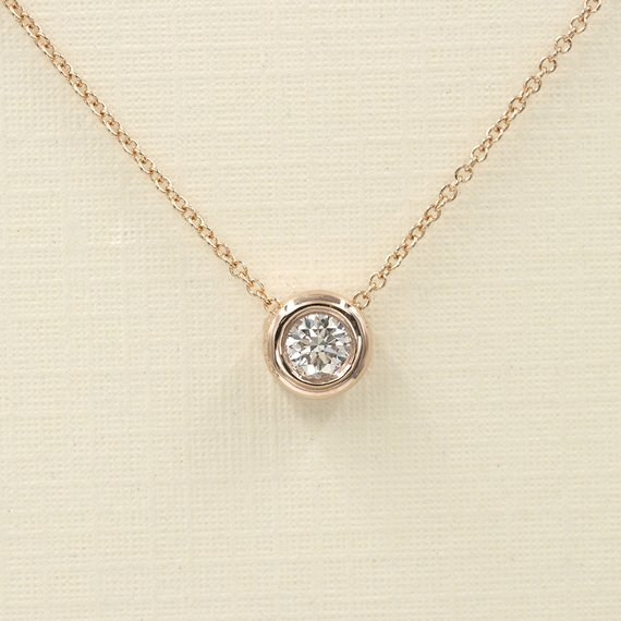 Diamond Bezel Necklace. Diamond Sliding Necklace For Women. 0.15 Ct / 0.20 Ct. .14k White,yellow,rose Gold Dainty Necklace.simple Necklace