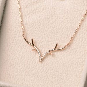 Shop Diamond Pendants! antler necklace, anlter pendant, diamond necklace, rose gold, Christmas gift for women | Natural genuine Diamond pendants. Buy crystal jewelry, handmade handcrafted artisan jewelry for women.  Unique handmade gift ideas. #jewelry #beadedpendants #beadedjewelry #gift #shopping #handmadejewelry #fashion #style #product #pendants #affiliate #ad