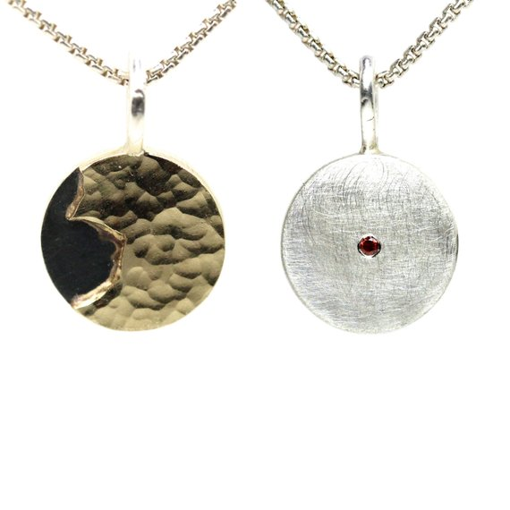 Two Sided Silver 14k Yellow Gold Diamond Necklace Cognac Color Gemstone Hammered Texture Versatile Reversible Pendant - Two Sides To A Coin