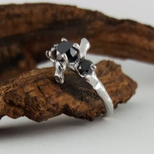 Natural Black Polished Diamond Twig Engagement Ring, 3 Diamond Solitaire, Custom Made-to-Order, Hand Sculpted Gold Wedding Ring | Natural genuine Array rings, simple unique alternative gemstone engagement rings. #rings #jewelry #bridal #wedding #jewelryaccessories #engagementrings #weddingideas #affiliate #ad