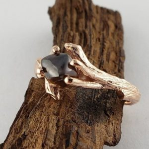 Shop Raw Diamond Engagement Rings! Raw Cognac Diamond Twig Engagement Ring, Solitaire Promise Ring, 14k Rose Gold by Dawn Vertrees | Natural genuine Diamond rings, simple unique alternative gemstone engagement rings. #rings #jewelry #bridal #wedding #jewelryaccessories #engagementrings #weddingideas #affiliate #ad