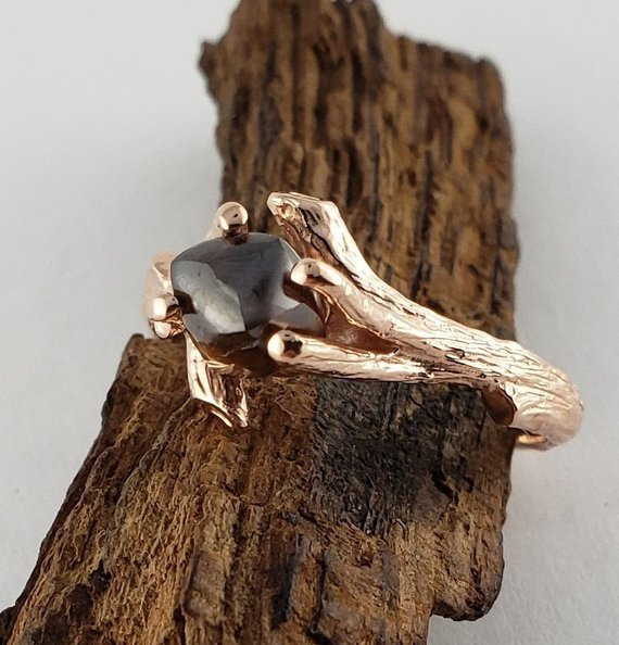 Raw Cognac Diamond Twig Engagement Ring, Solitaire Promise Ring, 14k Rose Gold By Dawn Vertrees