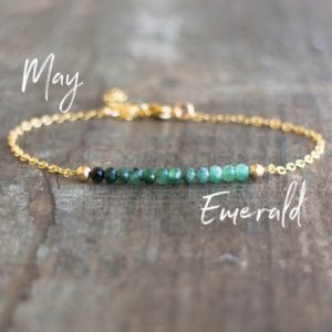 Shop Emerald Jewelry! May Birthstone Bracelet, Emerald Bracelet, Dainty Bracelet, Birthday Gift For Her, Ombre Emerald Jewelry, Green Bracelet, Bridesmaid Gifts | Natural genuine Emerald jewelry. Buy crystal jewelry, handmade handcrafted artisan jewelry for women.  Unique handmade gift ideas. #jewelry #beadedjewelry #beadedjewelry #gift #shopping #handmadejewelry #fashion #style #product #jewelry #affiliate #ad