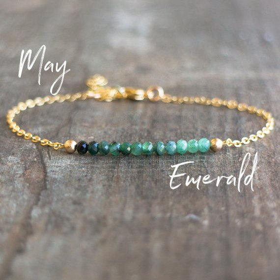 Emerald Bracelet, Birthday Gifts For Her, May Birthstone Bracelet, Ombre Emerald Jewelry, Bridesmaid Gifts, Dainty Bracelet