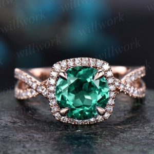 Shop Emerald Engagement Rings! Emerald engagement ring rose gold halo diamond ring may birthstone infinity twisted unique vintage jewelry gift wedding bridal promise ring | Natural genuine Emerald rings, simple unique alternative gemstone engagement rings. #rings #jewelry #bridal #wedding #jewelryaccessories #engagementrings #weddingideas #affiliate #ad