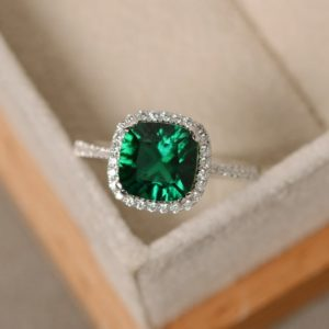 Shop Emerald Engagement Rings! Emerald engagement ring, sterling silver, cushion cut, emerald gemstone ring | Natural genuine Emerald rings, simple unique alternative gemstone engagement rings. #rings #jewelry #bridal #wedding #jewelryaccessories #engagementrings #weddingideas #affiliate #ad