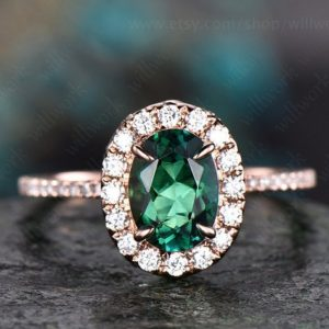 Shop Emerald Engagement Rings! Green emerald engagement ring solid 14k yellow gold real diamond ring moissanite halo ring May birthstone oval vintage weddig promise ring | Natural genuine Emerald rings, simple unique alternative gemstone engagement rings. #rings #jewelry #bridal #wedding #jewelryaccessories #engagementrings #weddingideas #affiliate #ad