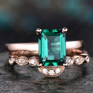 Green Emerald engagement ring set 14k Rose gold-emerald ring gold handmade Diamond ring May birthstone ring 2pcs emerald matching bridal set | Natural genuine Gemstone rings, simple unique alternative gemstone engagement rings. #rings #jewelry #bridal #wedding #jewelryaccessories #engagementrings #weddingideas #affiliate #ad