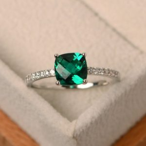 Emerald ring, green emerald ring, green engagement ring, sterling silver, anniversary ring, cushion cut | Natural genuine Gemstone rings, simple unique alternative gemstone engagement rings. #rings #jewelry #bridal #wedding #jewelryaccessories #engagementrings #weddingideas #affiliate #ad