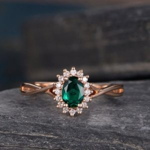 Lab Emerald Engagement Ring Rose Gold Diamond Birthstone May Diana Princess Ring Halo Floral Flower Infinity Eternity Oval Halo Anniversary | Natural genuine Array rings, simple unique alternative gemstone engagement rings. #rings #jewelry #bridal #wedding #jewelryaccessories #engagementrings #weddingideas #affiliate #ad