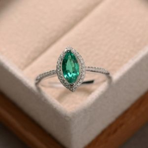 Shop Emerald Engagement Rings! Lab grown emerald ring, sterling silver, marquise cut ring, engagement ring | Natural genuine Emerald rings, simple unique alternative gemstone engagement rings. #rings #jewelry #bridal #wedding #jewelryaccessories #engagementrings #weddingideas #affiliate #ad