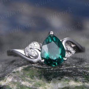 Pear teardrop emerald engagement ring 14k white gold real diamond ring vintage art deco unique floral bridal wedding promise ring for her | Natural genuine Array rings, simple unique alternative gemstone engagement rings. #rings #jewelry #bridal #wedding #jewelryaccessories #engagementrings #weddingideas #affiliate #ad