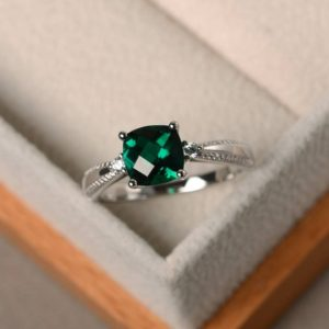 Shop Emerald Engagement Rings! Emerald rings, sterling silver, engagement ring, May birthstone rings, cushion checkerboard cut | Natural genuine Emerald rings, simple unique alternative gemstone engagement rings. #rings #jewelry #bridal #wedding #jewelryaccessories #engagementrings #weddingideas #affiliate #ad