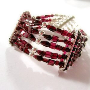 Shop Garnet Bracelets! Red Garnet Bracelet – January Birthstone Jewelry – Sterling Silver Jewellery – Multi Strand – Crimson – Natural Gemstone – Beaded B-109 | Natural genuine Garnet bracelets. Buy crystal jewelry, handmade handcrafted artisan jewelry for women.  Unique handmade gift ideas. #jewelry #beadedbracelets #beadedjewelry #gift #shopping #handmadejewelry #fashion #style #product #bracelets #affiliate #ad