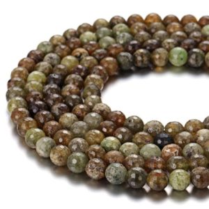Shop Garnet Faceted Beads! Nice Faceted Green Garnet Gemstone Round Loose Beads Size 4mm/6mm/8mm/10mm 15.5 Inches per Strand.GEM-171120-79 | Natural genuine faceted Garnet beads for beading and jewelry making.  #jewelry #beads #beadedjewelry #diyjewelry #jewelrymaking #beadstore #beading #affiliate #ad