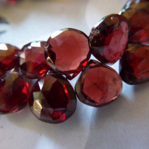 Shop Garnet Bead Shapes! 1-12 pcs, GARNET Heart Briolettes Gemstone Beads / 7-9 mm, Luxe AAA Burgundy Red, Faceted Mozambique Garnet, January birthstone 79 solo z | Natural genuine other-shape Garnet beads for beading and jewelry making.  #jewelry #beads #beadedjewelry #diyjewelry #jewelrymaking #beadstore #beading #affiliate #ad
