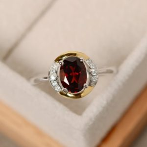 Shop Garnet Rings! Garnet ring gold, yellow gold, sterling silver, oval cut ring, promise ring | Natural genuine Garnet rings, simple unique handcrafted gemstone rings. #rings #jewelry #shopping #gift #handmade #fashion #style #affiliate #ad
