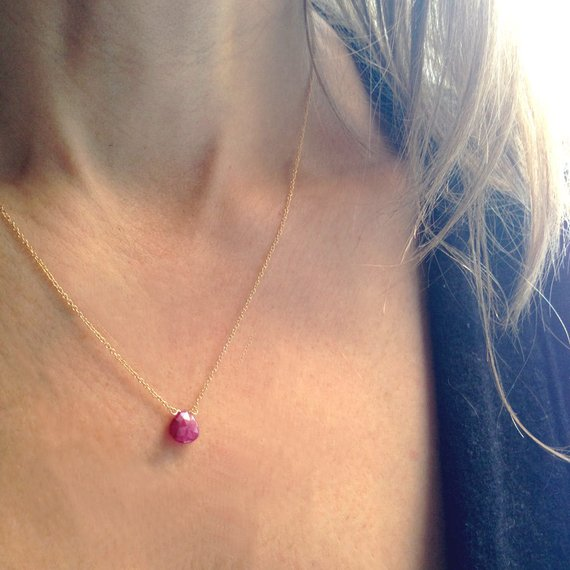 Genuine Ruby Necklace - Real Ruby Necklace  - Gold Ruby Necklace - Minimalist Necklace - Dainty Necklace - 14k Gold Filled