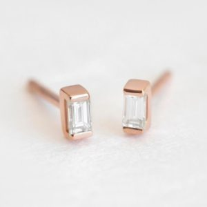 Gold Diamond Jewelry, Diamond Studs Earring, Baguette Diamond, Minimalist Earrings, Anniversary Gift, Wedding Earrings, Gold Diamond Earring | Natural genuine Diamond earrings. Buy handcrafted artisan wedding jewelry.  Unique handmade bridal jewelry gift ideas. #jewelry #beadedearrings #gift #crystaljewelry #shopping #handmadejewelry #wedding #bridal #earrings #affiliate #ad
