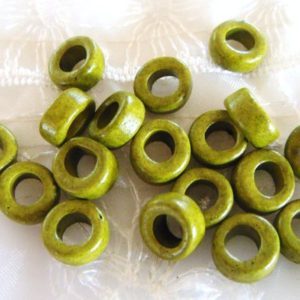 Shop Hemp Jewelry Making Supplies! Greek Ceramic Pony Beads, Spacer Beads, Large Hole Tube Beads, Ceramic Slider, Green Olive  Matte Finish 10x6mm (Ø 5mm) – 15 pieces | Shop jewelry making and beading supplies, tools & findings for DIY jewelry making and crafts. #jewelrymaking #diyjewelry #jewelrycrafts #jewelrysupplies #beading #affiliate #ad