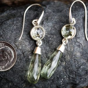 Shop Green Amethyst Earrings! Prasiolite Dangle Earrings – 2 Stone Green Amethyst Earrings – Green Quartz Checkerboard Prasiolite earrings 2 Stone Green Amethyst Dangles | Natural genuine Green Amethyst earrings. Buy crystal jewelry, handmade handcrafted artisan jewelry for women.  Unique handmade gift ideas. #jewelry #beadedearrings #beadedjewelry #gift #shopping #handmadejewelry #fashion #style #product #earrings #affiliate #ad
