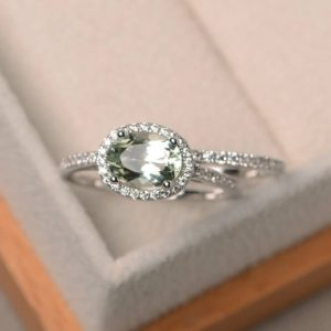 Shop Green Amethyst Rings! Natural green amethyst ring, wedding ring, oval cut gemstone, green gemstone, sterling silver ring, bridal sets | Natural genuine Green Amethyst rings, simple unique alternative gemstone engagement rings. #rings #jewelry #bridal #wedding #jewelryaccessories #engagementrings #weddingideas #affiliate #ad