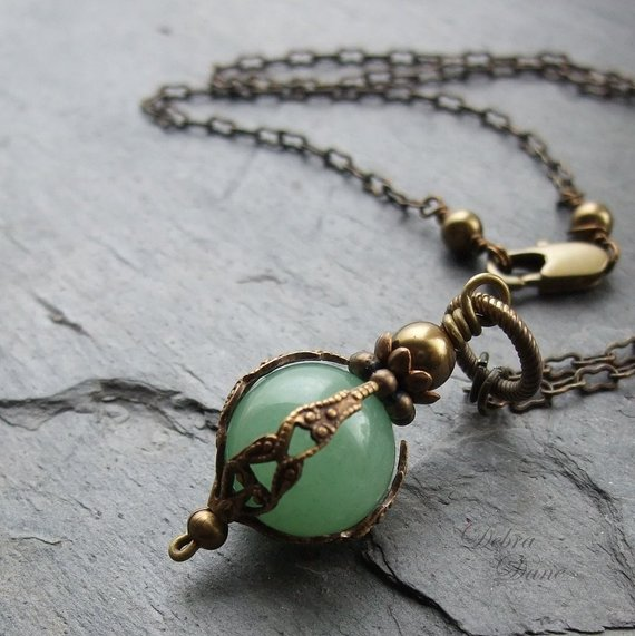 Green Aventurine Necklace Safe Traveller Pendant Moss Green Natural Stone