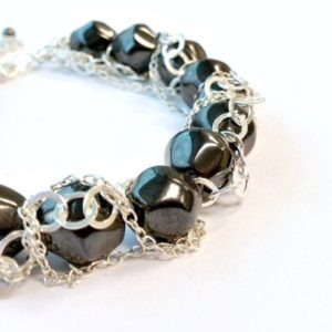 Shop Hematite Bracelets! Hematite Bracelet – Gray Statement Jewelry – Sterling Silver Chain – Gemstone Jewellery – Mod | Natural genuine Hematite bracelets. Buy crystal jewelry, handmade handcrafted artisan jewelry for women.  Unique handmade gift ideas. #jewelry #beadedbracelets #beadedjewelry #gift #shopping #handmadejewelry #fashion #style #product #bracelets #affiliate #ad