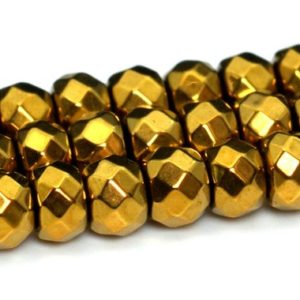 """Shop Hematite Faceted Beads! 3x2MM Gold Hematite Beads Grade AAA Natural Gemstone Full Strand Faceted Rondelle Loose Beads 14"""" BULK LOT 1,3,5,10 and 50 (101662-399) 