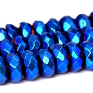 """Shop Hematite Faceted Beads! 4x2MM Blue Hematite Beads Grade AAA Natural Gemstone Full Strand Faceted Rondelle Loose Beads 15"""" BULK LOT 1,3,5,10 and 50 (101668-399) 