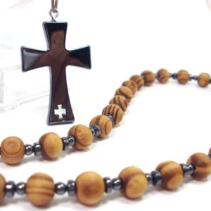 Shop Hematite Necklaces! Wood and Hematite Rosary Men Necklace, Hematite Cross, Mens Rosary, Women Rosary, Mens Rosary Necklace, Wood Rosary Necklace, Cross Necklace | Natural genuine Hematite necklaces. Buy handcrafted artisan men's jewelry, gifts for men.  Unique handmade mens fashion accessories. #jewelry #beadednecklaces #beadedjewelry #shopping #gift #handmadejewelry #necklaces #affiliate #ad