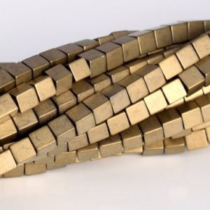 "Shop Hematite Bead Shapes! 2MM Matte Champagne Gold Hematite Beads Cube Grade AAA Natural Gemstone Full Strand Loose Beads 16"" BULK LOT 1,3,5,10 and 50 (104809-1307) 